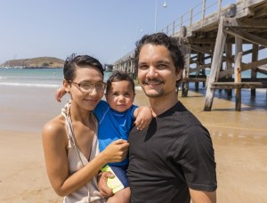 Happy Aboriginal Australian Family at the Beach